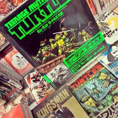Guys, Ninja Turtle comics in Japanese! Super tempted!!; #ninjaturtles #comics #tmnt #Japanese #manga #Shibuya #Tokyo #japan #90s #green #日本 #東京 #日本語