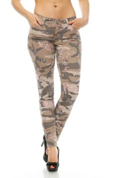 Camouflage & Floral Pattern Trousers