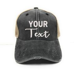 e2eb55ee7be Custom Hat - Design Your Own - Men Women s Distressed Trucker Hat -  Embroidered - Funny - Baseball Cap - Monogram - Gift - Your Text