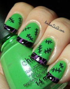 halloween-acrylic-nails-designs-Ideas-green-color