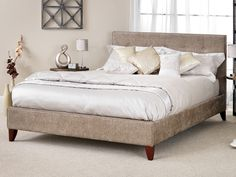 Serene Chelsea Super King Size Fudge Fabric Bed Frame with Mahogany Feet £322