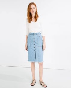 Image 1 of LONG DENIM SKIRT WITH BUTTONS from Zara