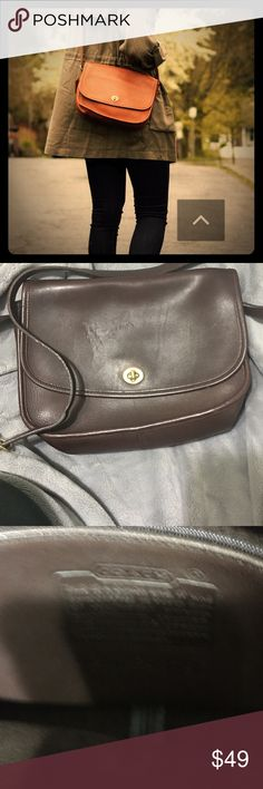 Classics are back !! Vintage coach city bag Few scratches but still in good condition real leather Coach Bags Crossbody Bags