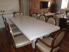 MÓVEIS RESINADOS: Mesa de Jantar em resina Branca modelo SIMETRIA