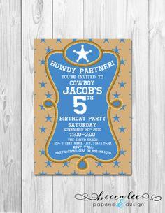 Cowboy Theme Party Invitation - Blue & Tan Stars - DIY - Printable