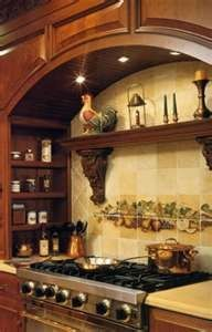 Tuscan Kitchen Decor- love this, without the fruit painting Tuscany Kitchen, Italian Kitchen Decor, Italian Kitchens, Italian Themed Kitchen, Tuscan Kitchen Decor, Italian Home, Italian Style, Kitchen Designs Photos, Kitchen Stove