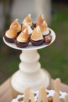 rustic camping themed party smore cupcakes