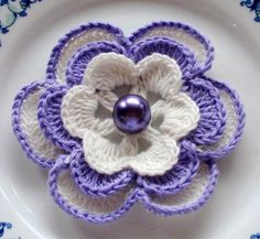 Larger Crochet Flower in 3 inches YH - 054-02. $3.80, via Etsy.