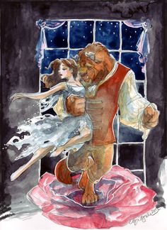 Beauty and the Beast based on the 1992 Oscars performance. This came about from an exchange of notes on deviantArt, credit to Abranime to linking me to the youtube clip. I remember seeing the award show as a kid and when the scene from Beauty and the Beast was played as a nominee for best film category my jaw just dropped to the floor but I had honestly forgotten all about the musical numbers.