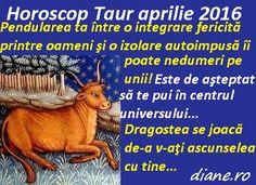 Horoscop Taur aprilie 2016