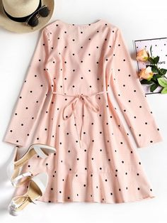 Plunging Neck Ruffles Polka Dot Dress - PINK S