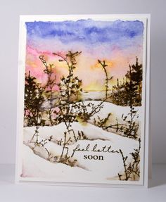 watercolor winter sunset get well card by Heather Telford