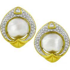 Diamond Baroque Pearl Gold Earrings