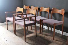 Set of six teak Hovmand Olsen Danish chairs. Model 71 Style.£60 courier London