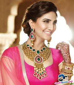 Best of splendid wedding jewelry collections from year 2015 launched by various indian jewellers like TBZ, Tanishq, Hazoorilal, Shrihari Diagems. Indian Wedding Jewelry, Indian Jewelry, Bridal Jewellery, South Indian Jewellery, Temple Jewellery, Gold Earrings Designs, Necklace Designs, Team Bride, Bridal Necklace
