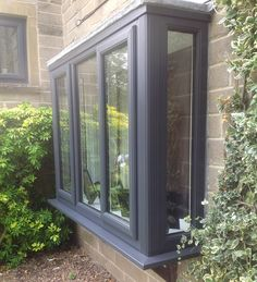 upvc windows grey | Supplying UPVC Windows Across West Yorkshire Front Doors With Windows, Upvc Windows, Bay Windows, House Windows, Kitchen Garden Window, Garden Windows, Bay Window Exterior, Living Room Windows, West Yorkshire