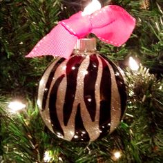 Hand painted zebra ornament