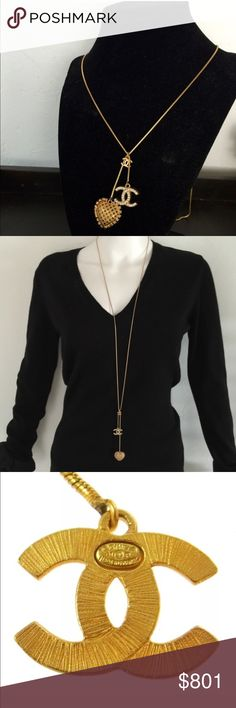 """Authentic Chanel Logo Lasso Necklace Gold In excellent condition. No true signs of wear.  It has been worn but it looks nearly perfect.  42"""" long chain and can be worn long or doubled for a shorter look. CHANEL Jewelry Necklaces"""