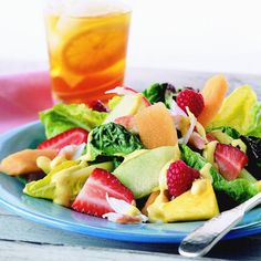 Crabmeat adds flavor and protein to this vegetable-and-fruit-based salad.