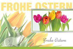 #Osterkarte bunte #Tulpen mit #Häschen. Druck auf glattem Karton mit Silberfolienprägung. Kuvert in gelb.