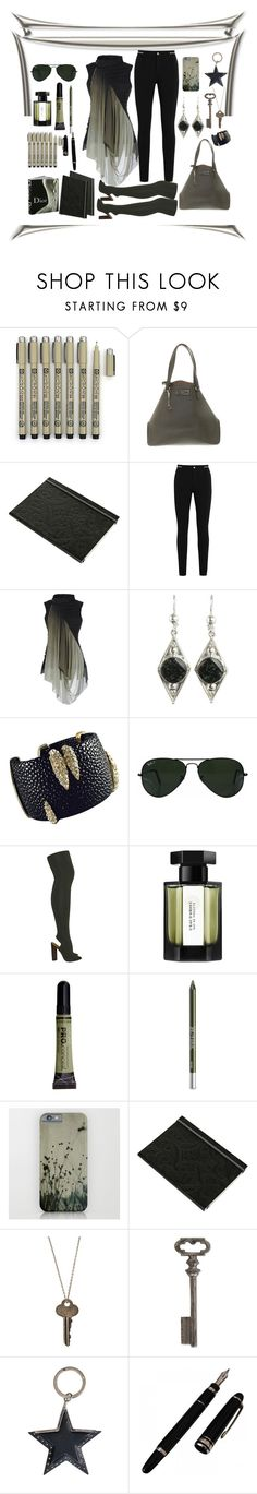 """""""Mist Green & Foggy Black"""" by coollavinia ❤ liked on Polyvore featuring Donna Karan, Christian Lacroix, Givenchy, Rick Owens, NOVICA, Ray-Ban, adidas Originals, L'Artisan Parfumeur, L.A. Girl and Urban Decay"""