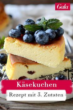 Käsekuchen sind super lecker aber leider meist auch recht aufwendig in der Herstellung. Mit diesem 3-Zutaten-Rezept backen Sie ihren Käsekuchen so einfach wie noch nie. #käsekuchen #3zutatenküche #käsekuchenohneboden #rezept Ober Und Unterhitze, Super, Cheesecake, Desserts, 3 Ingredient Cheesecake, Small Cake, Finger Foods, Cheesecakes, Deserts