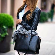 Leather jacket & jeans Zara Bag Prada