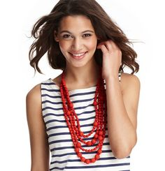 Loft - LOFT Necklaces - Red Fabric Wrapped Beach Necklace