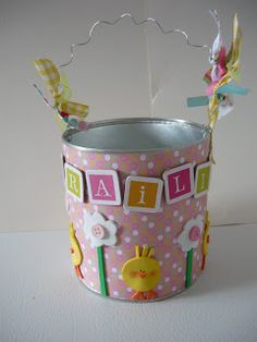 """Upcycle coffee cans into Easter """"baskets.""""  Would be fun to let the kids decorate their own."""