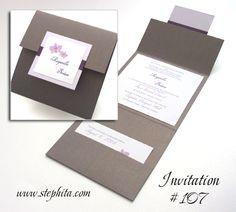 Invitation 107: Colbalt Pearl, Lilac Pearl, White Smooth, Purple Ribbon