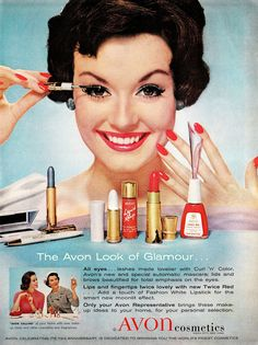 1959 Avon ad. Remember when you used to find those boxes of Avon lipstick testers at the thrift shops? I found so many of those. The oldest ones had metal cased testers. The later ones were white plastic. But they came in snap cases and there was a tiny tube of every freakin' color! LOVED FINDING THOSE. Wish I hadn't used them all...