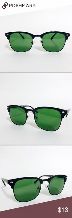 Classic Vintage Browline Sunglasses The Classic Vintage Browline Clubmaster Sunglasses, inspired by the 50's and worn by iconic figures, artists and intellectuals.  This timeless piece brings out a classic and vintage look with any outfit.  Free glasses pouch included.   •100% UV Protection   •Frame Material- Acetate  •Frame Color- Black/Black   •Color Lens-Green   •Imported Accessories Sunglasses
