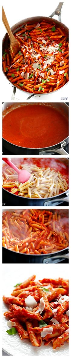 Pasta with Easy Roasted Red Pepper Sauce -- simple, flavorful, and made healthier without cream from | pasta dishes, pasta recipes