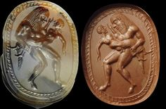 Fine, archaic greek intaglio on an agate scarab. A satyr, kidnapping a girl. Antique Rings, Antique Jewelry, Agate, Cameo Jewelry, Jewellery, Coin Art, Greek Jewelry, Shell, Satyr