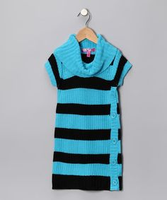 Take a look at this Aqua Blue Stripe Sweater Dress - Toddler & Girls by Cherry Stix on #zulily today!