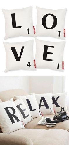Scrabble Pillows // fun! Spell out whatever you want!
