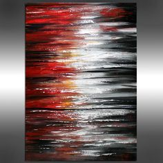 Red Black and White - OIL Abstract Painting Sunset style, Seascape Abstract…