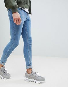 Find the best selection of ASOS DESIGN extreme super skinny jeans in light blue. Shop today with free delivery and returns (Ts&Cs apply) with ASOS! Shoes With Jeans, Blue Jeans, Men's Jeans, Tight Jeans Men, Asos, Best Running Shoes, Mens Fashion, Fashion Outfits, Super Skinny Jeans