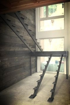 Steel stair stringers are a striking alternative to traditional staircases. Offers that open look and provides a lifetime of strength. Staircase Remodel, Staircase Ideas, Decorating Staircase, Staircase Metal, Open Staircase, Railing Ideas, Railing Design, Stairs Stringer, Escalier Design