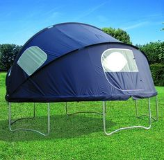 Make Camping Fun With A Trampoline Tent Trampoline Tent! this is pretty cool for kids camping out in Trampolines, Trampoline Tent, Ground Trampoline, Recycled Trampoline, Backyard Camping, Tent Camping, Camping Ideas, Camping Hacks, Camping Stuff