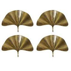 Set of Four Huge Ginkgo Leaf Brass Wall Lights or Sconces by Tommaso Barbi
