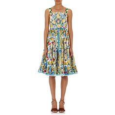 Dolce & Gabbana Women's Maiolica-Print Sundress ($2,395) ❤ liked on Polyvore featuring dresses, multi, pattern dress, white sun dress, square neck dress, white dress and white pleated dress
