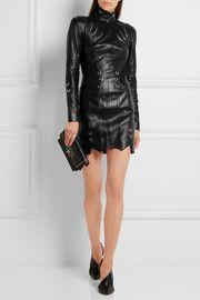 Embellished leather mini dress
