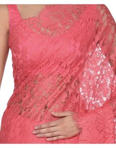 Coral French Chantilly Lace Saree With Satin Crepe Blouse
