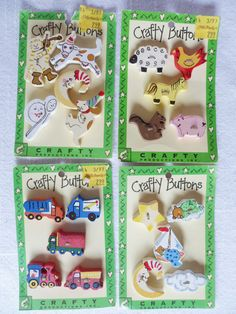 4 Cards Hand painted Wood BUTTONS Children's Themes by JleCROW, $9.98