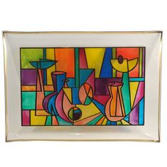 Multi Color Mid Century Modern Cubist Bent Glass Tray, TheHourShop.com . #design #MCM #decor