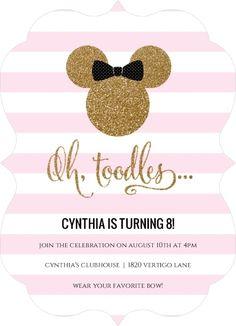 Glamorous Glitter Minnie Mouse Birthday Invitation