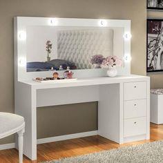 Penteadeira Camarim Com Espelho E 3 Gavetas Branco