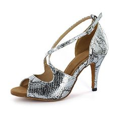 7b3f53ba26 Women's Leatherette Latin Shoes / Ballroom Shoes Buckle Sandal Stiletto  Heel Customizable Silver / Gold / EU43