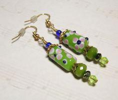 Handmade Green Lampwork Multi-Color Floral Dangle Earrings Think Spring! #Handmade #Earrings